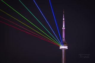 Nuit Blanche CN Tower Rainbow by Nigel Murray from Flickr used under CC-BY-ND-2.0